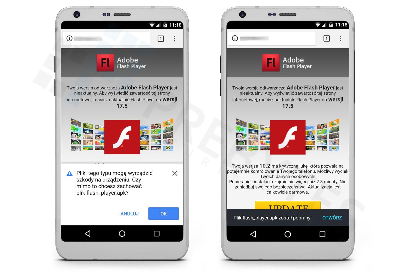 Fałszywa aktualizacja Adobe Flash Player na system Android