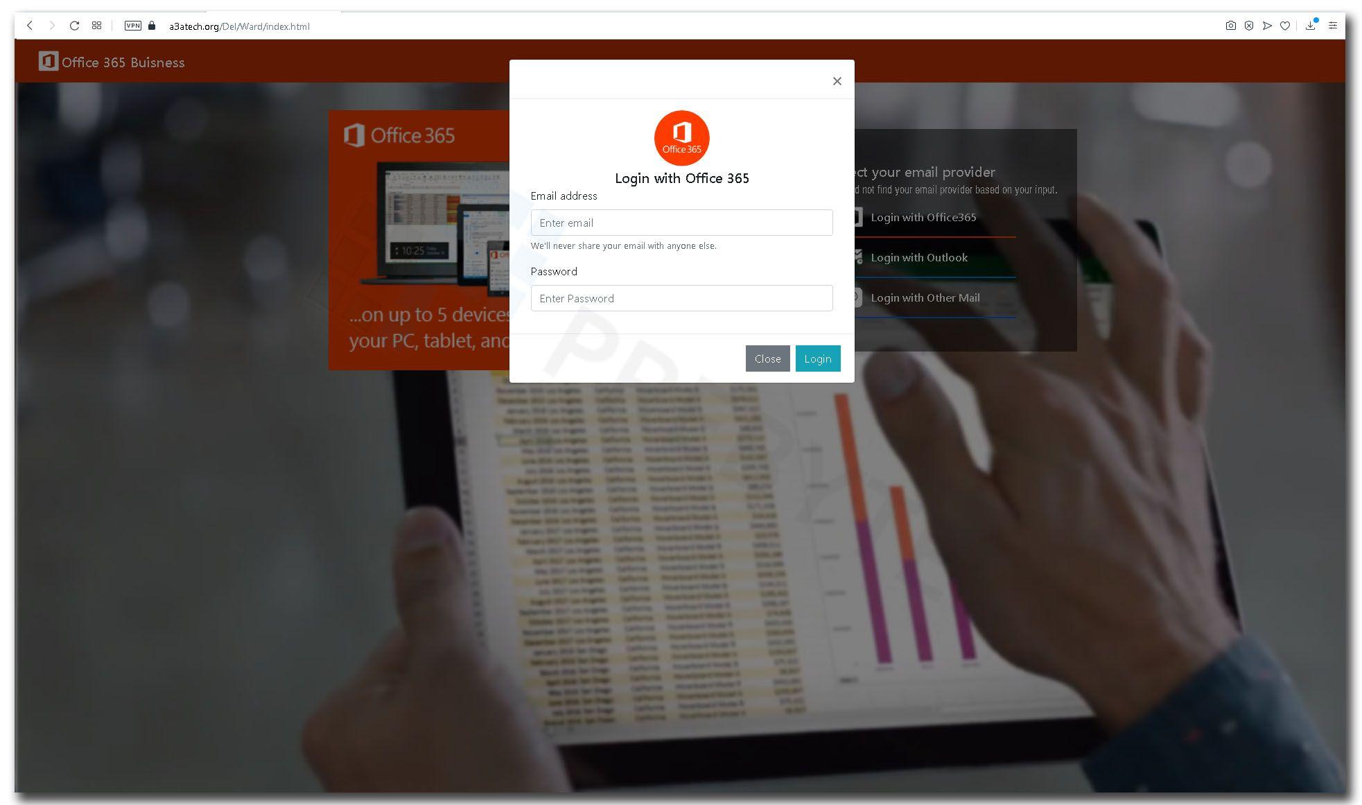 Okno logowania do konta Office 365