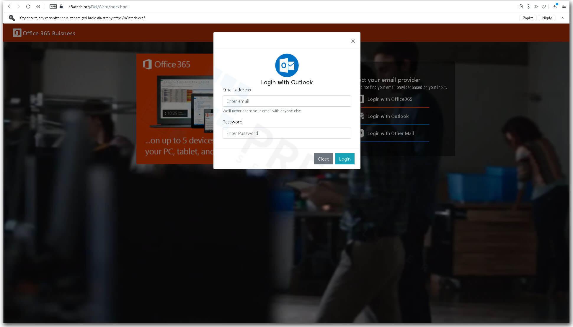 Okno logowania do klienta pocztowegoOutlook