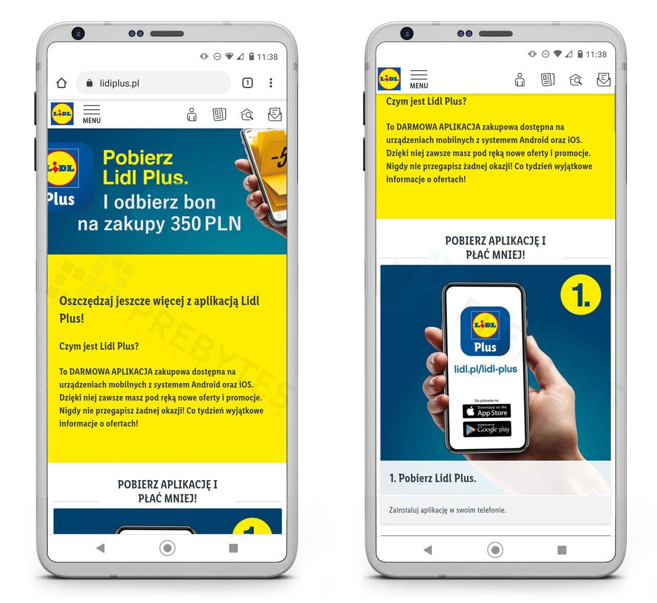 Fałszywa strona pobrania aplikacji Lidl Plus
