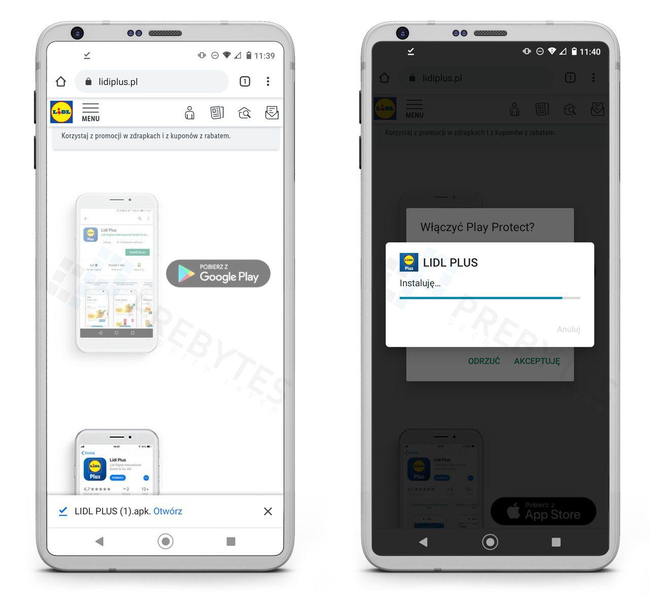 Instalacja fałszywej aplikacji Lidl Plus