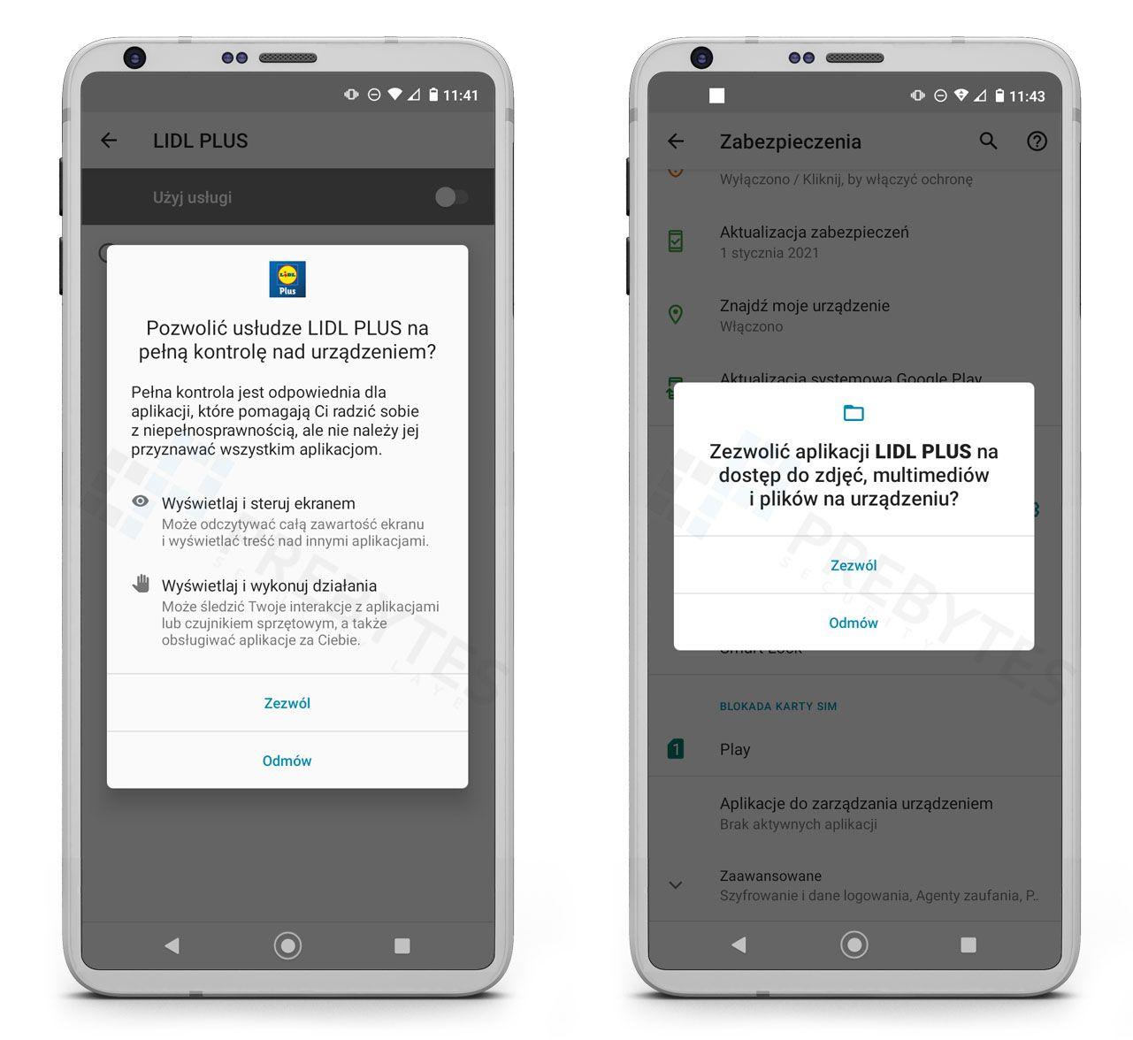 Nadanie pełnej kontroli nad urządzeniem fałszywej aplikacji Lidl Plus