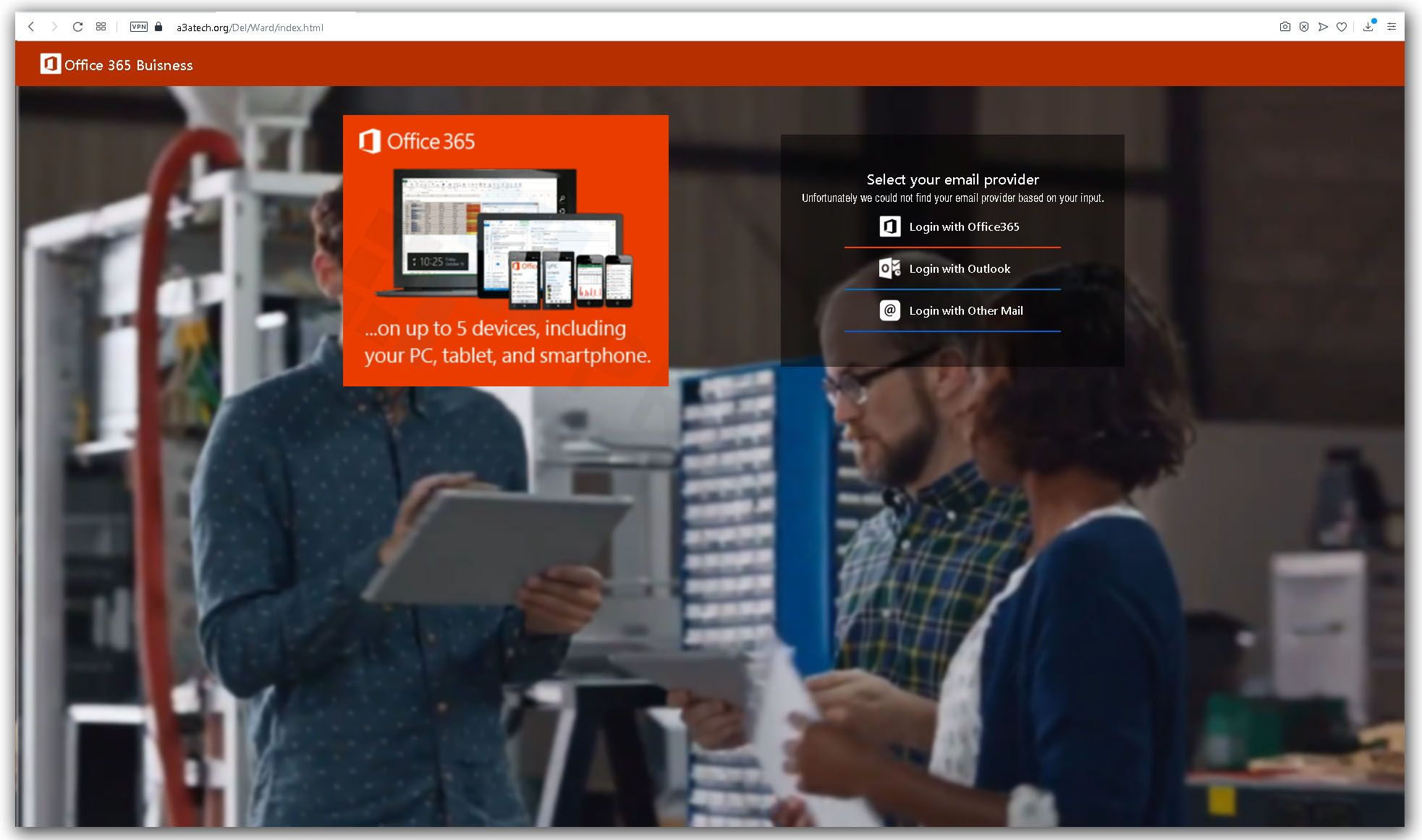 Spreparowana strona uslugi Office 365