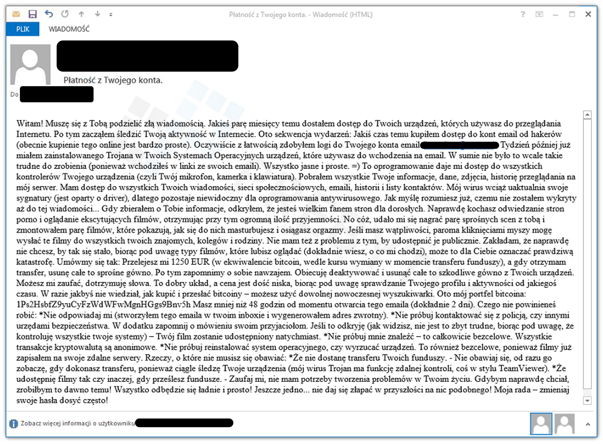 Wiadomość e-mail z żądaniem okupu