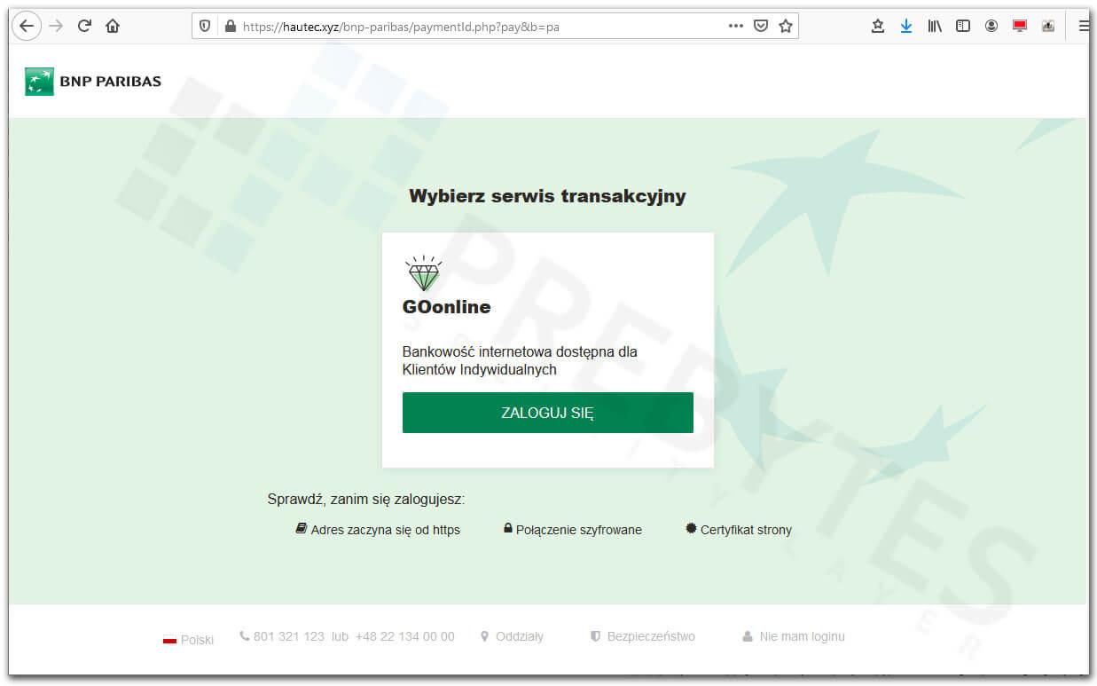 Fałszywa strona bankowości BNP Paribas
