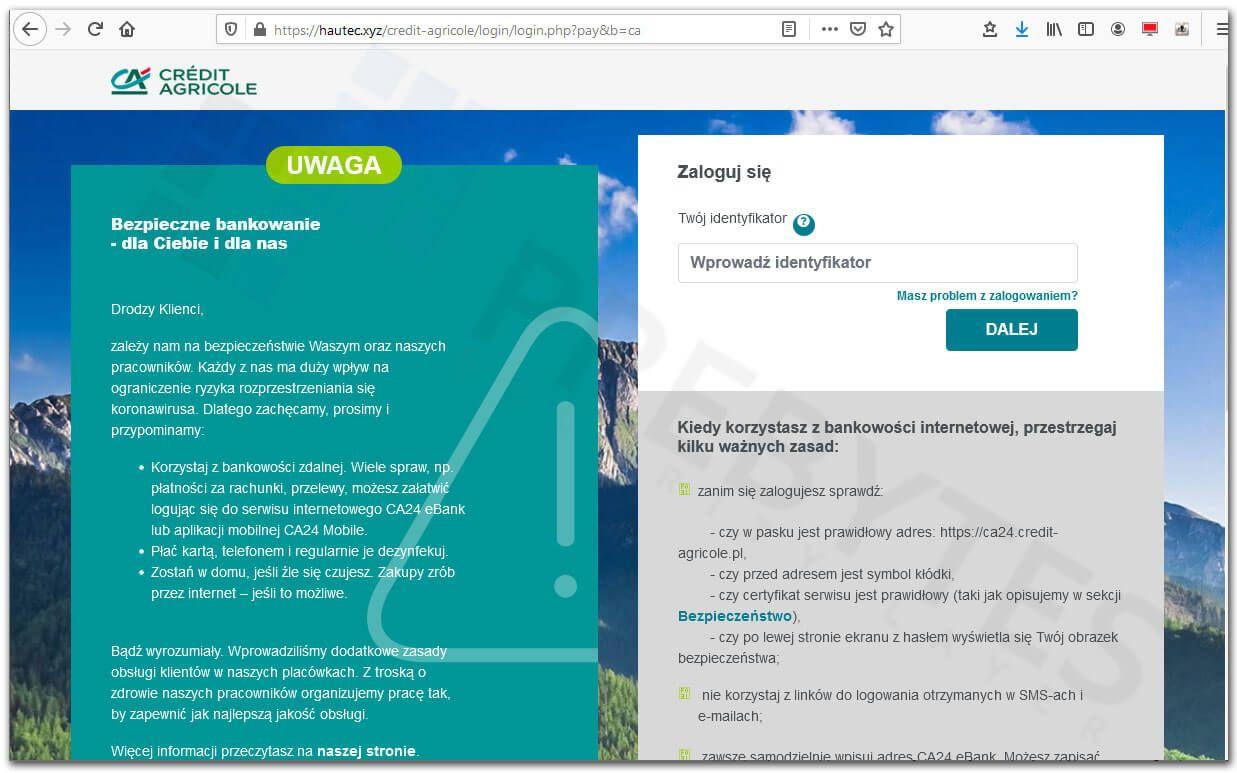 Fałszywa strona bankowości Credit Agricole