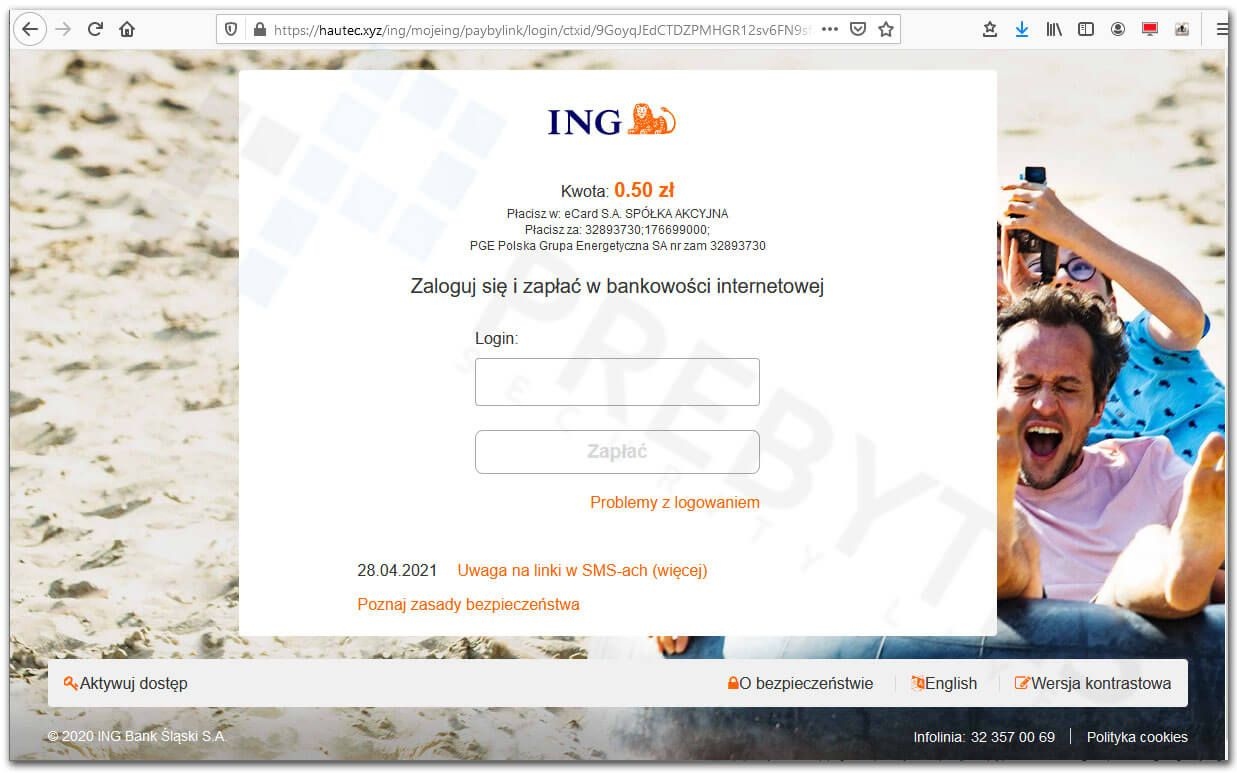 Fałszywa strona bankowości ING