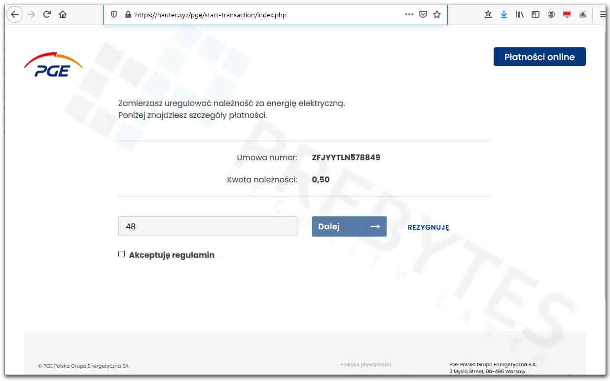 Fałszywa strona płatności z PGE - podanie numeru telefonu