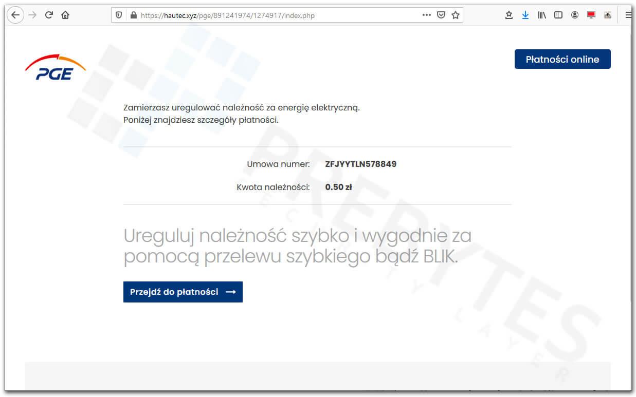 Fałszywa strona płatności z PGE