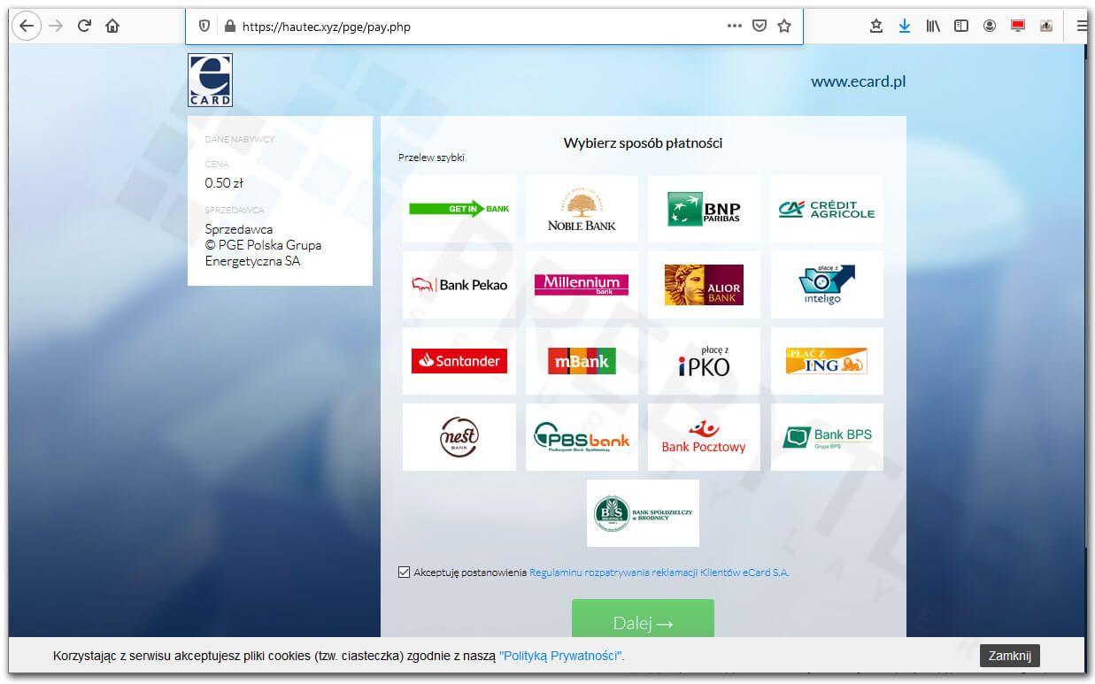 Fałszywa strona szybkich płatności eCard