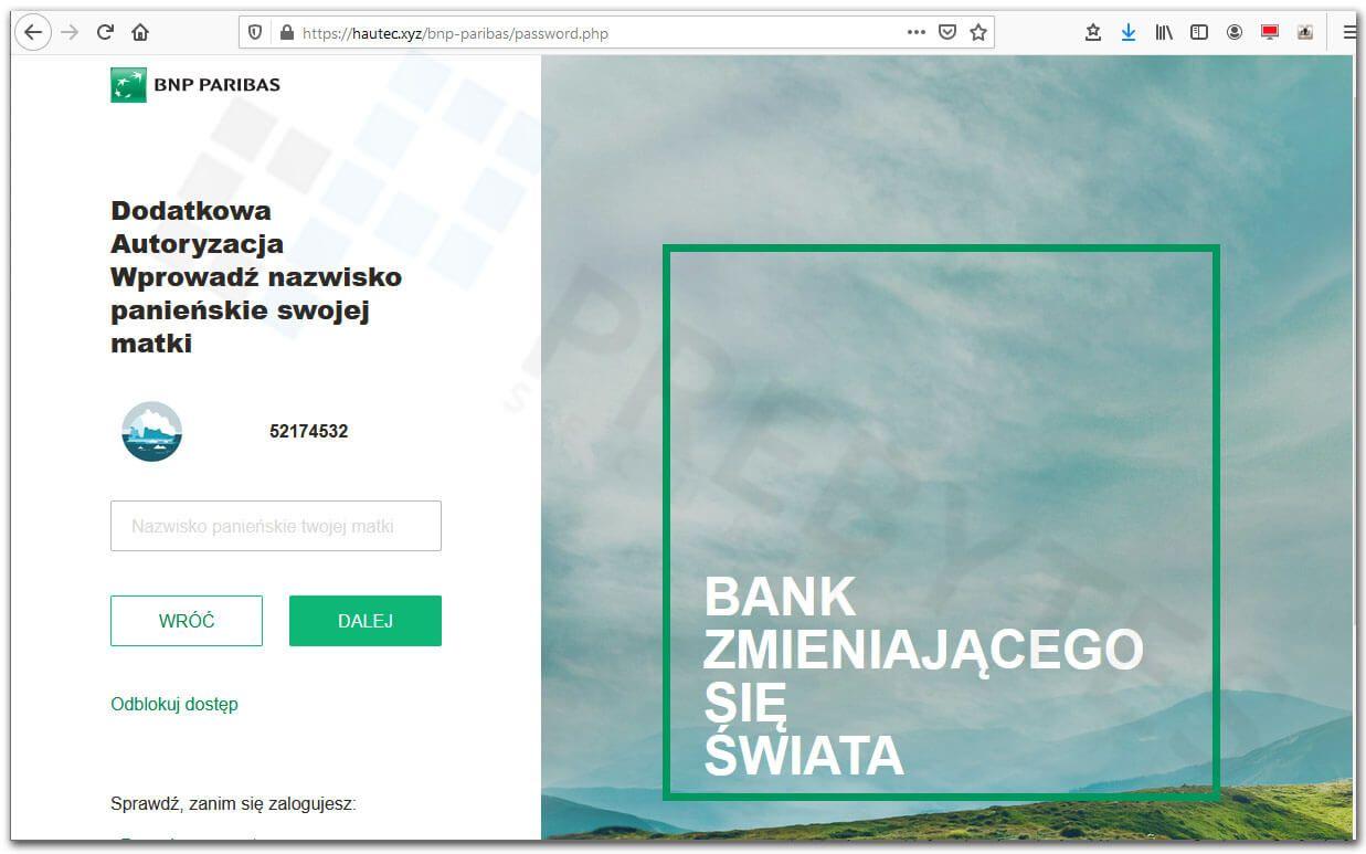 Logowanie do bankowości BNP Parbias - nazwisko panieńskie matki
