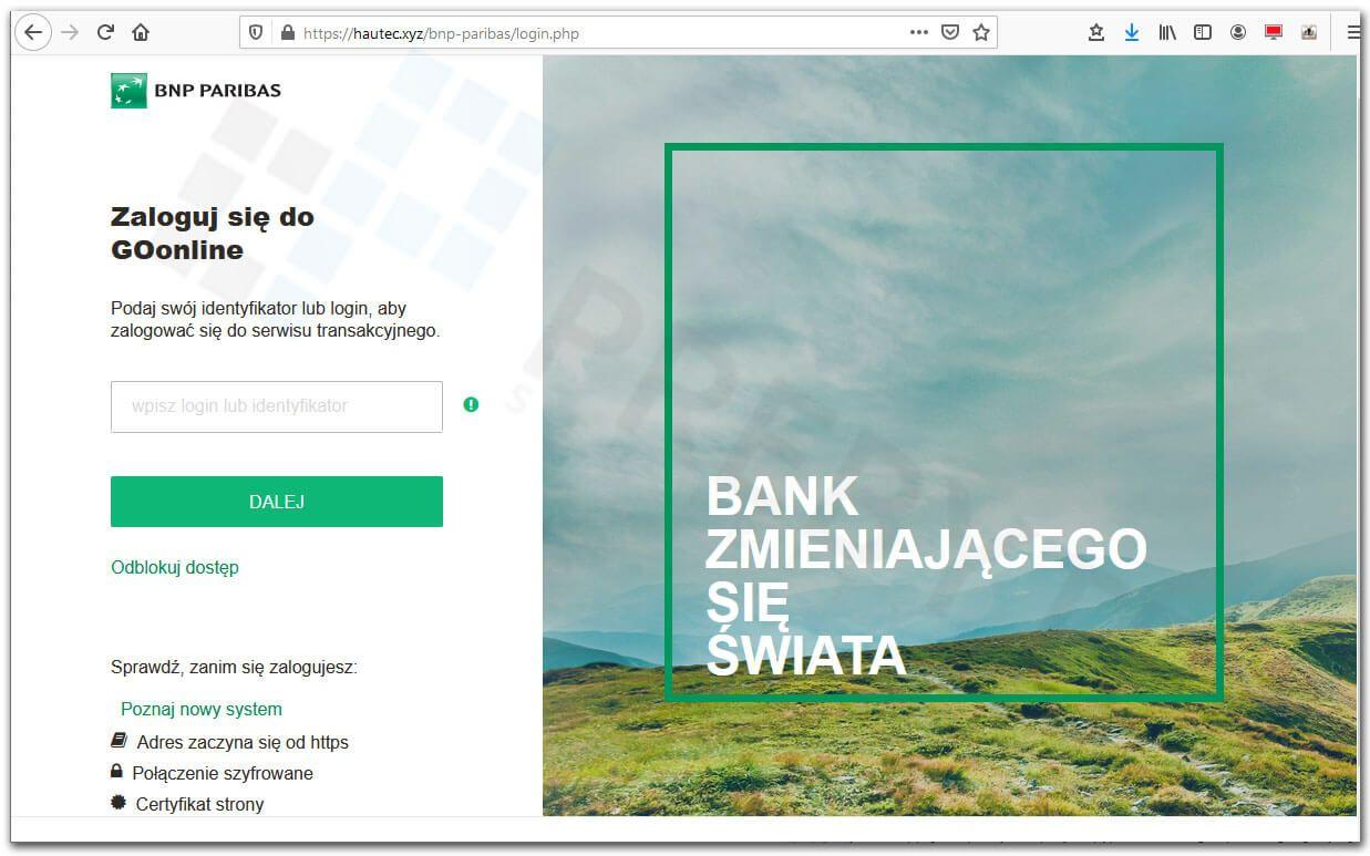 Logowanie do bankowości BNP Parbias