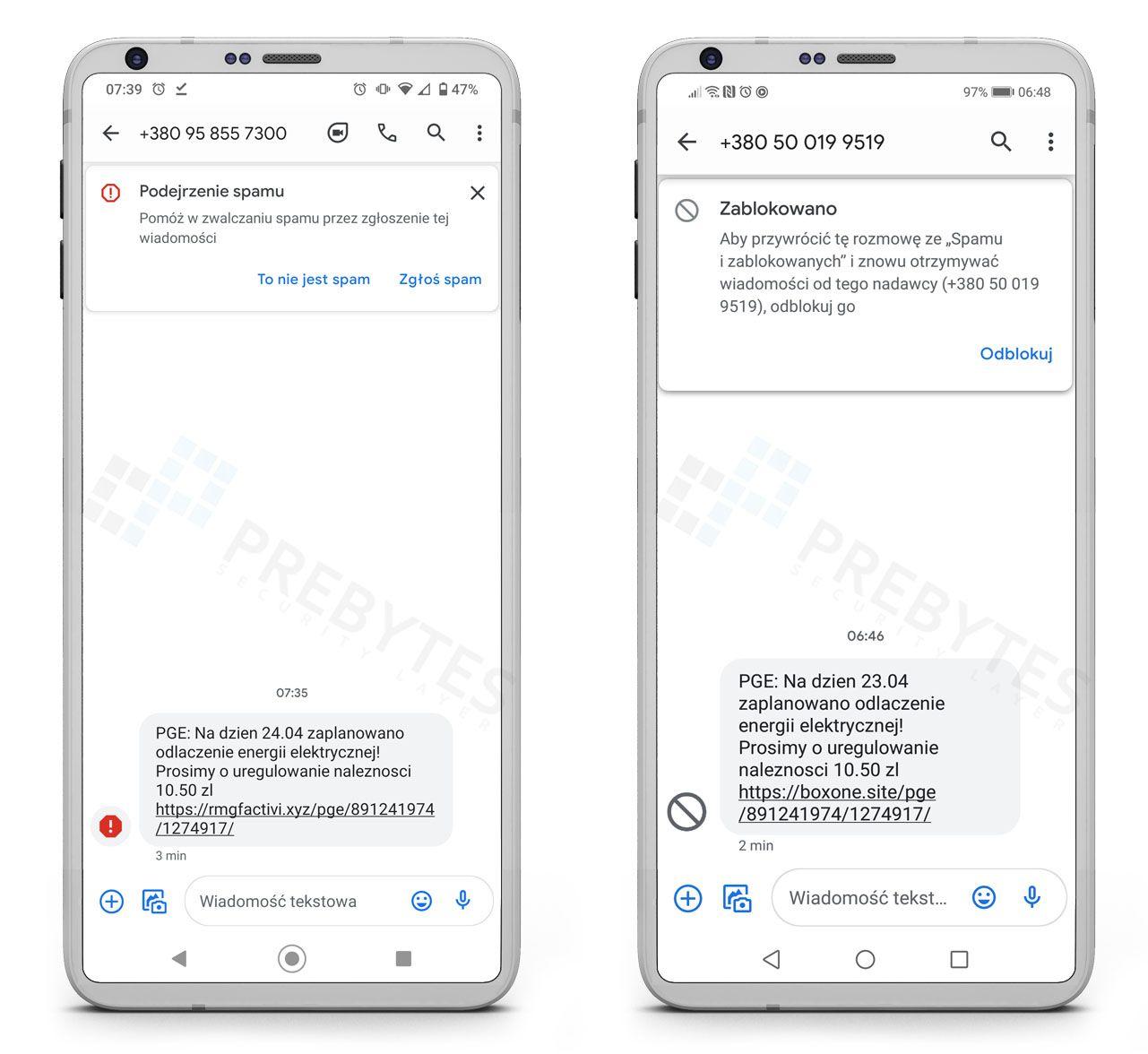 Fałszywy SMS od PGE - uregulowanie należności