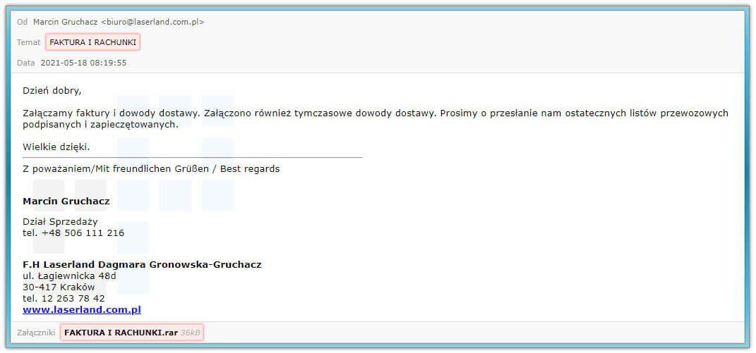 Faktura i rachunki - Smap z malware
