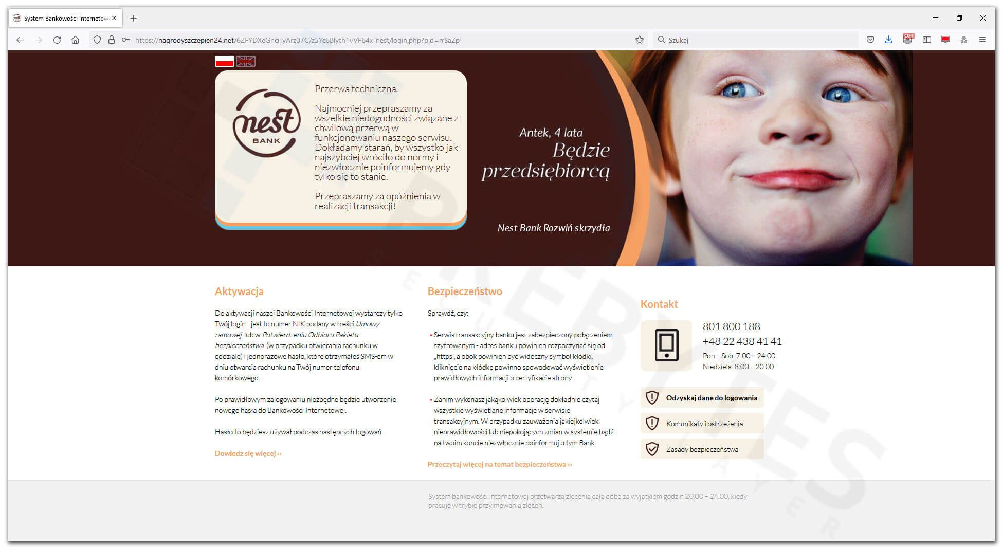 Logowanie do bankowości Nest Bank - informacja o przerwie technicznej