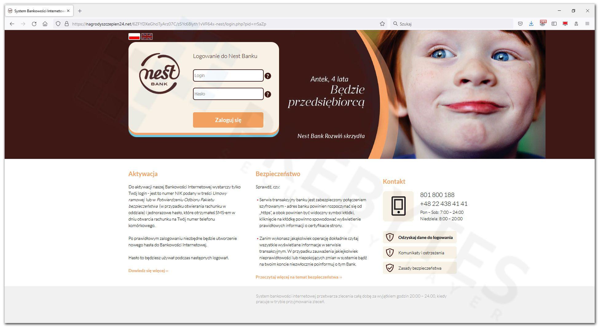Logowanie do bankowości internetowej Nest Bank
