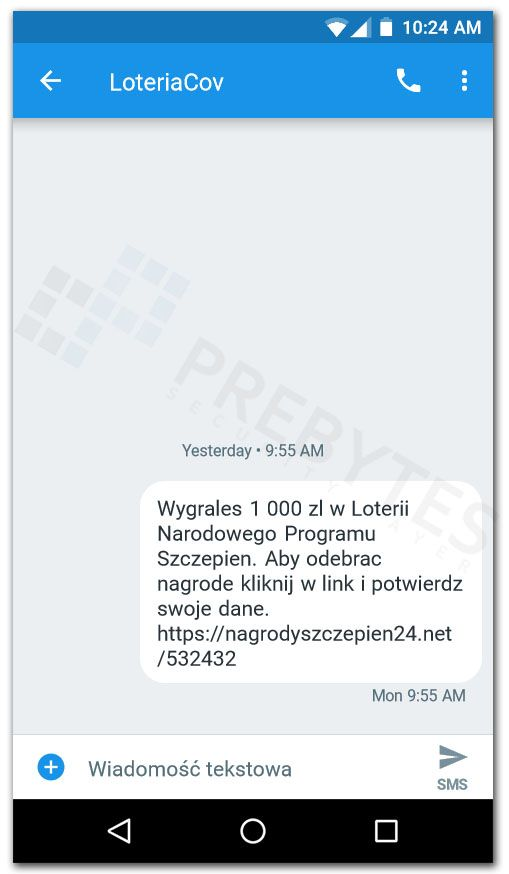 wiadomość SMS o wygranej w loterii Narodowego Programu Szczepień
