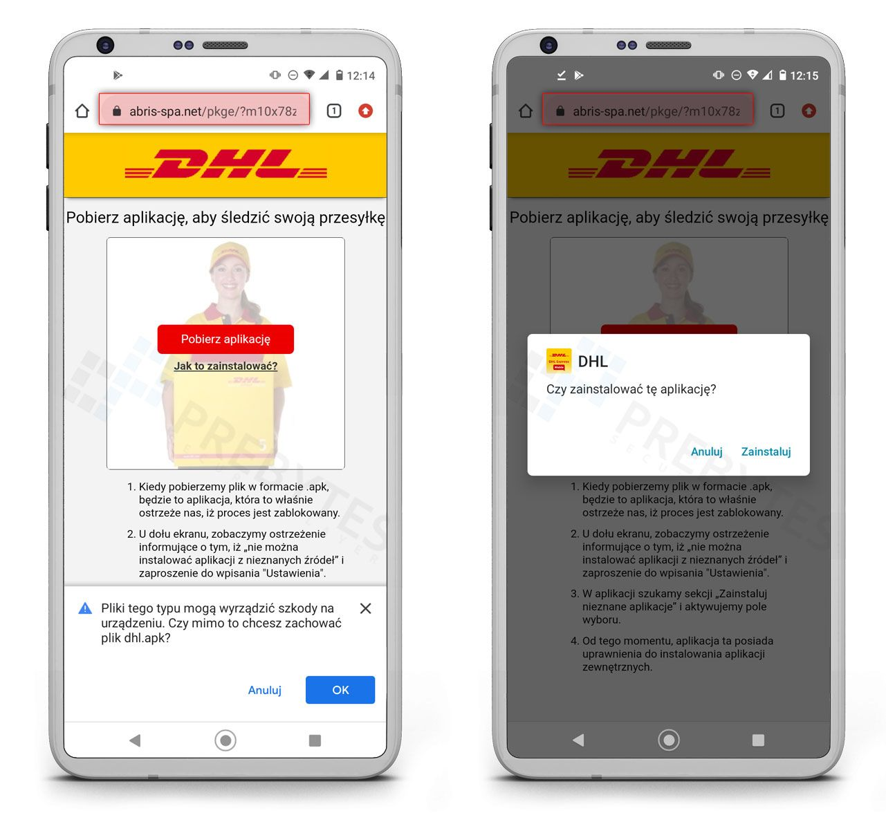 Fałszywa aplikacja DHL
