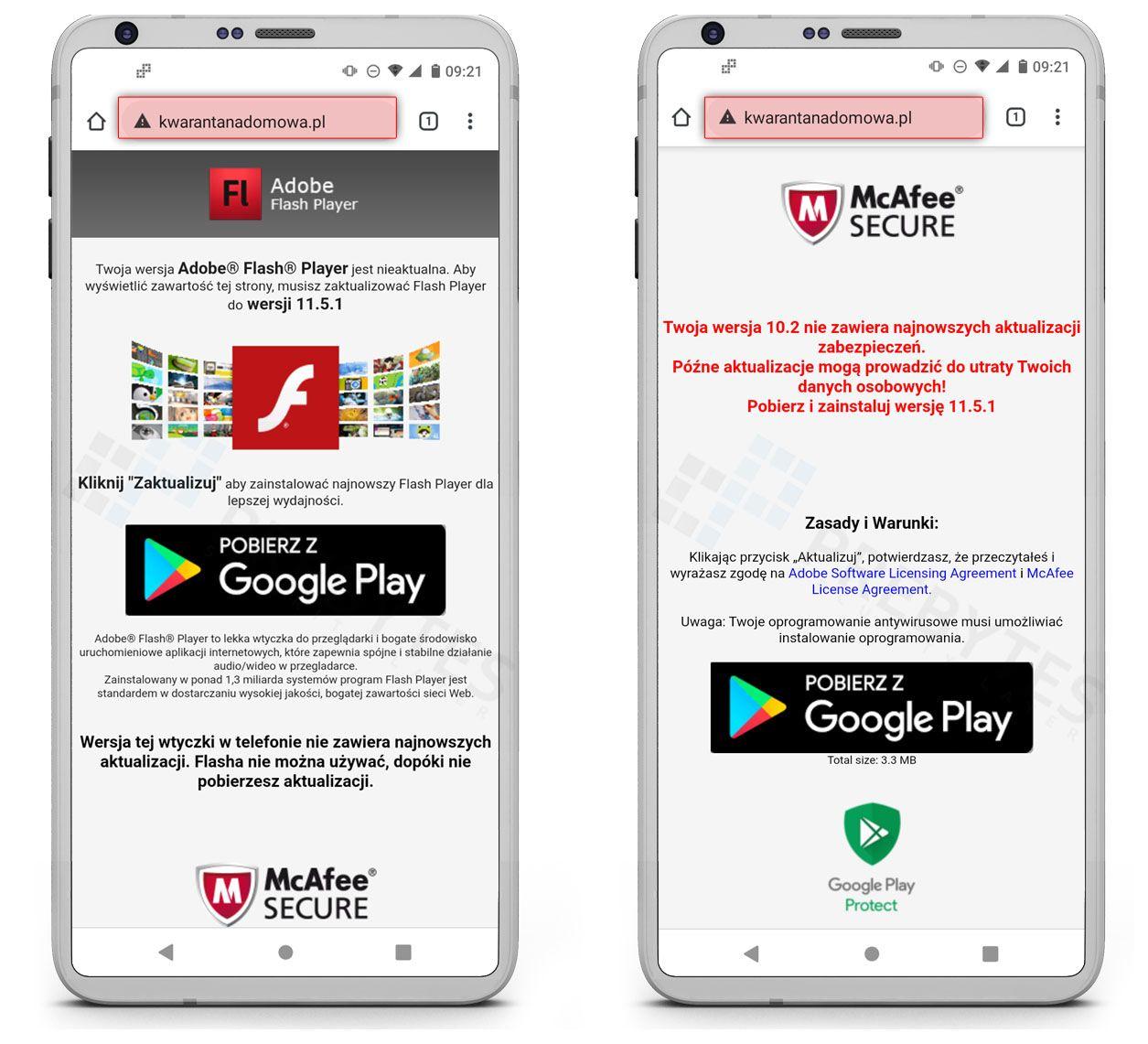Fałszywa aktualizacja Adobe Flash Player