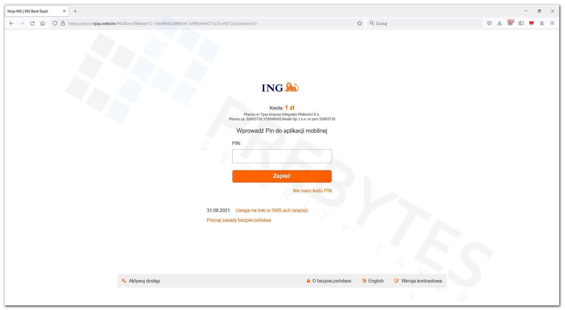 ING Bank - podanie PINu do aplikacji mobilnej