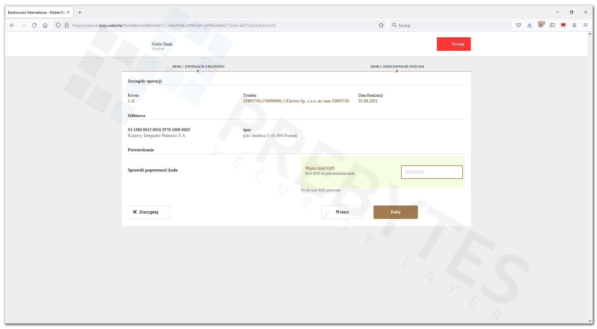 Kod autoryzacyjny SMS - Noble Bank