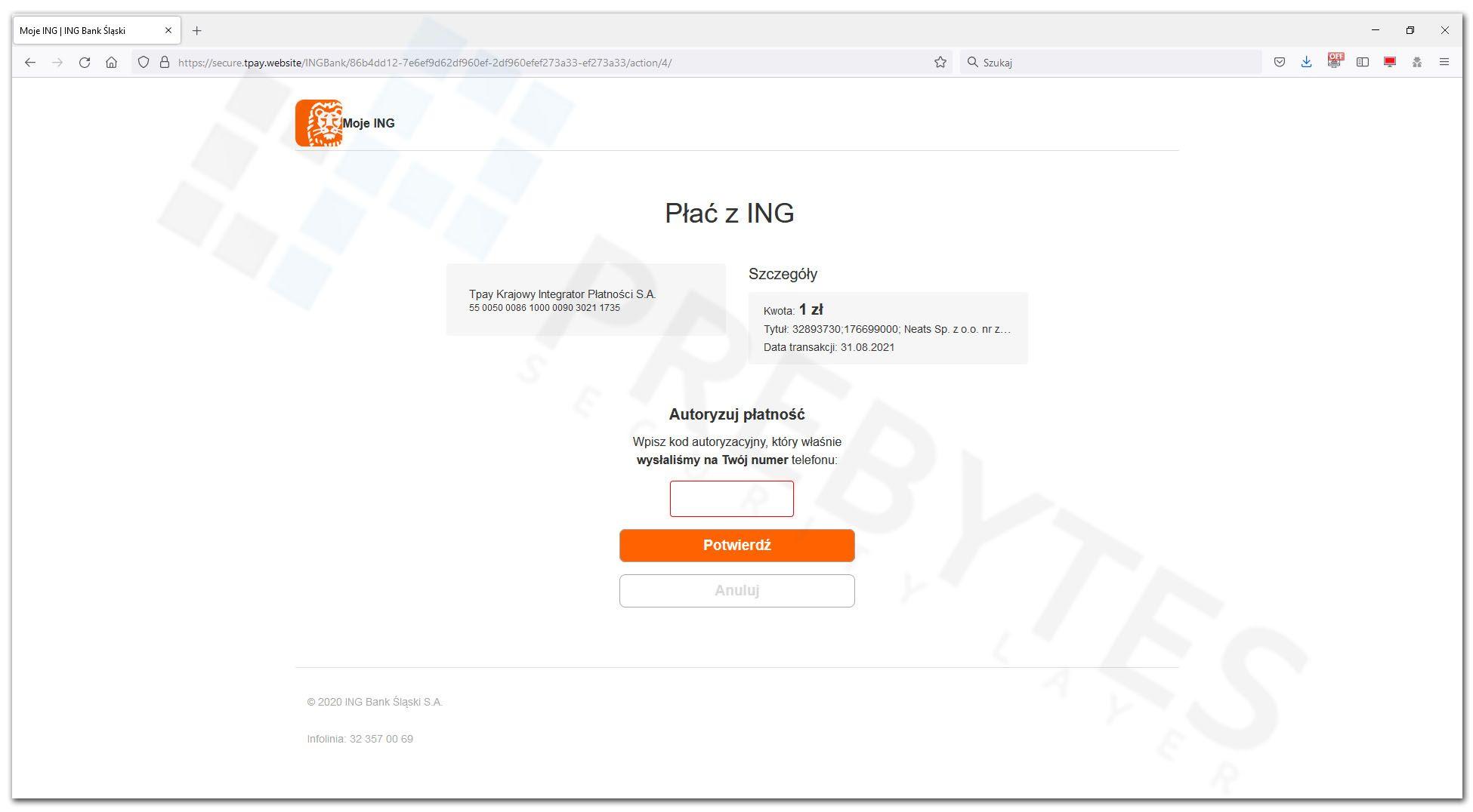 Podanie kodu autoryzacyjnego - INGBank