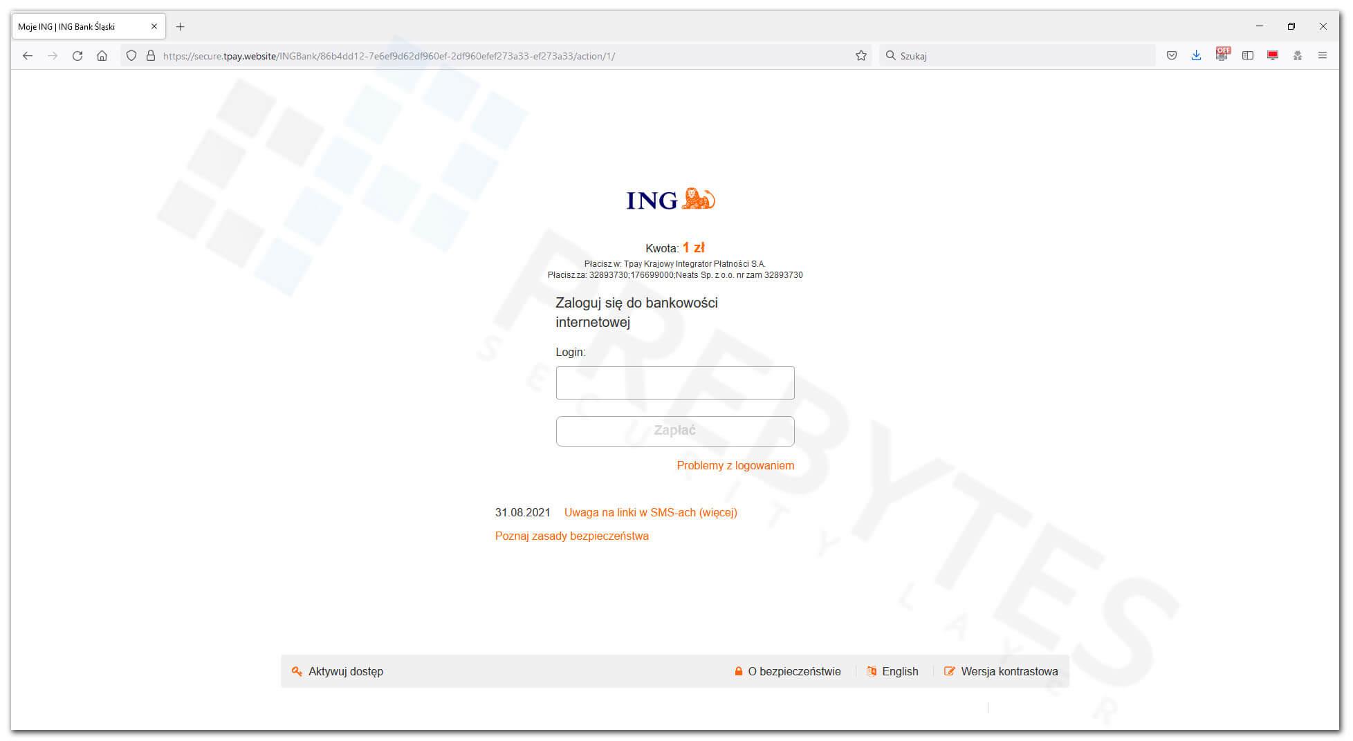 Podanie loginu do bankowości internetowej ING BP