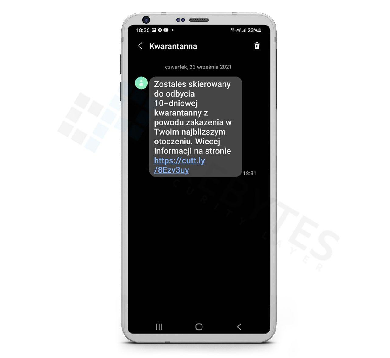 Wiadomość SMS z informacją o kwarantannie